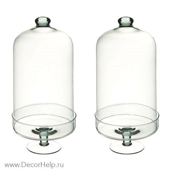 Клош стеклянный с колпаком (2шт)